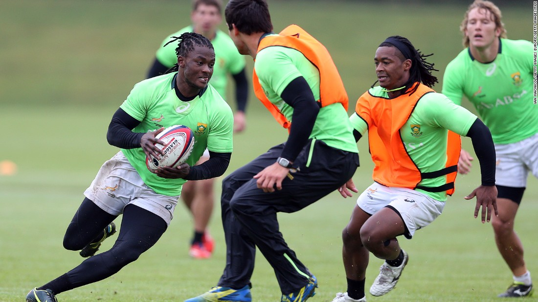 """What we do in sevens is slightly different in terms of the burst of efforts that we have. It is largely based around the game play."" Here South Africa's Blitzboks take part in a training session."