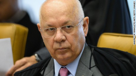 Brazilian Supreme Court Justice Teori Zavascki listens during a March 31, 2016, session of the court in Brasilia. Zavascki's body was recovered Thursday from the wreckage of a plane crash.