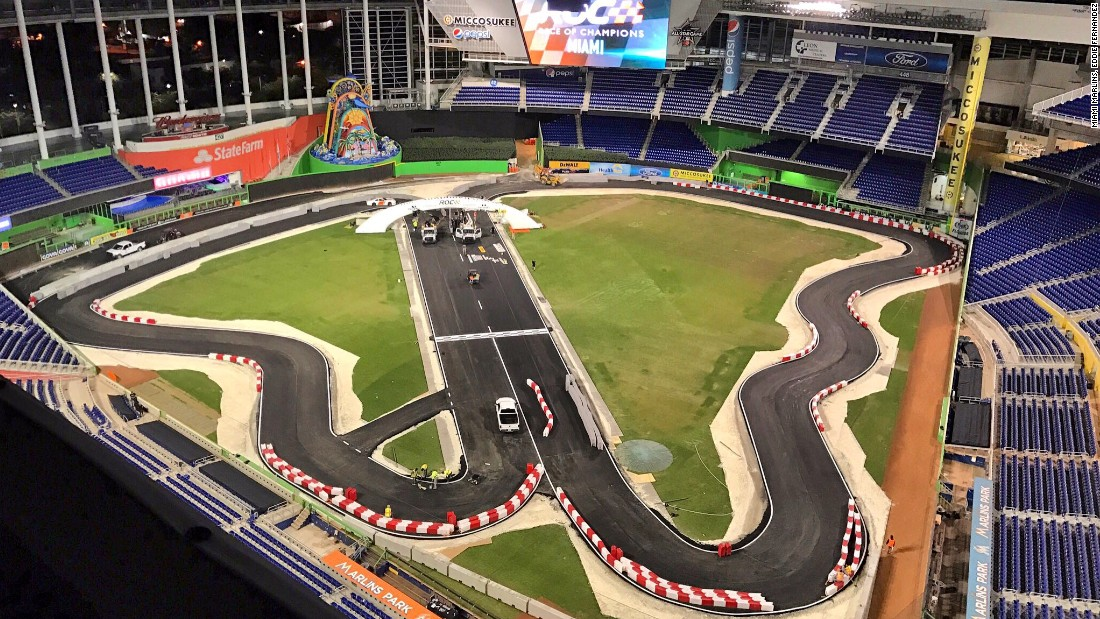Turf's up! The transformation is complete and the Marlins Park indoor racetrack is now ready to be graced by some of the world's star racing drivers.