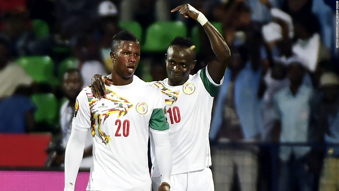 Senegal striker Sadio Mane celebrates with Baldé Diao after opening the scoring in the 2-0 win over Zimbabwe.