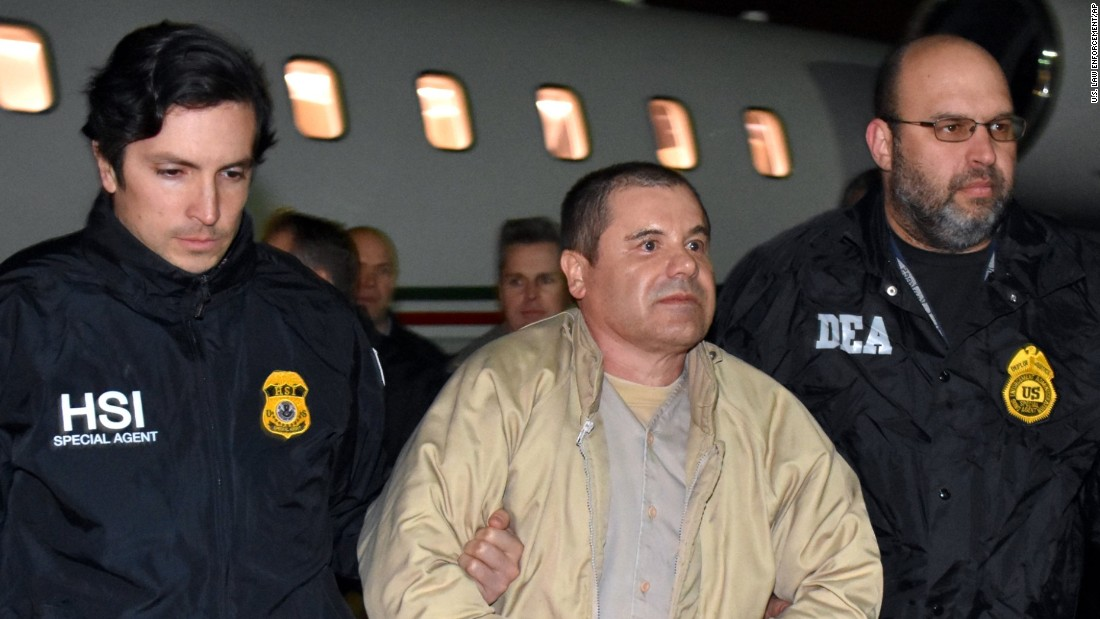 "Authorities escort Joaquin ""El Chapo"" Guzman off of a plane at Long Island MacArthur Airport in Ronkonkoma, New York, on Thursday, January 19, <a href=""http://www.cnn.com/2017/01/19/us/el-chapo-guzman-turned-over-to-us/index.html"" target=""_blank"">after he was extradited to the United States from Mexico</a>. Guzman will appear Friday in a federal courtroom in Brooklyn, where he will stand trial at a later date on allegations he has smuggled billions of dollars' worth of drugs into the United States and laundered profits back to Mexico."