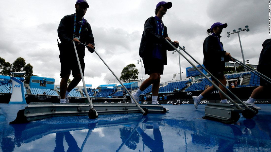 Rain delayed the start of play on the outside courts at Melbourne Park.