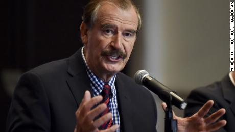 Former Mexican President Vicente Fox (2000-2006) gestures during a briefing with international press at a hotel in Mexico City on September 22, 2014. Fox announced the realization of the First Energetic Forum and Information Technologies from October 2nd to 4th promoted by the Fox Center.   AFP PHOTO/ Yuri CORTEZ        (Photo credit should read YURI CORTEZ/AFP/Getty Images)