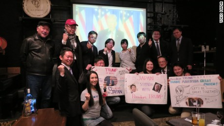 Japanese conservatives celebrate Trump's inauguration at a restaurant in the city of Fukuoka on Friday.