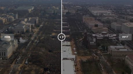 Comparing Donald Trump and Barack Obama's inaugural crowd sizes