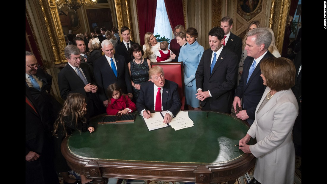 President Trump is joined by the congressional leadership and his family as he formally signs his cabinet nominations into law.