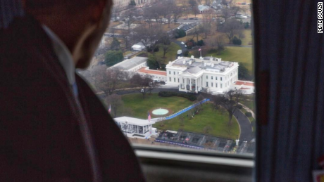 Former President Obama watches President Trump's Inauguration parade from Executive One helicopter