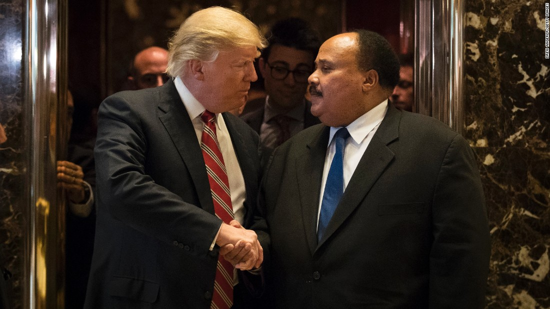 "Donald Trump shakes hands with Martin Luther King III after their meeting at Trump Tower in New York on Monday, January 16. <a href=""http://www.cnn.com/2017/01/16/politics/donald-trump-martin-luther-king-day/"" target=""_blank"">Trump called on Americans</a> to observe Martin Luther King Jr. Day and ""celebrate all of the many wonderful things that he stood for."""