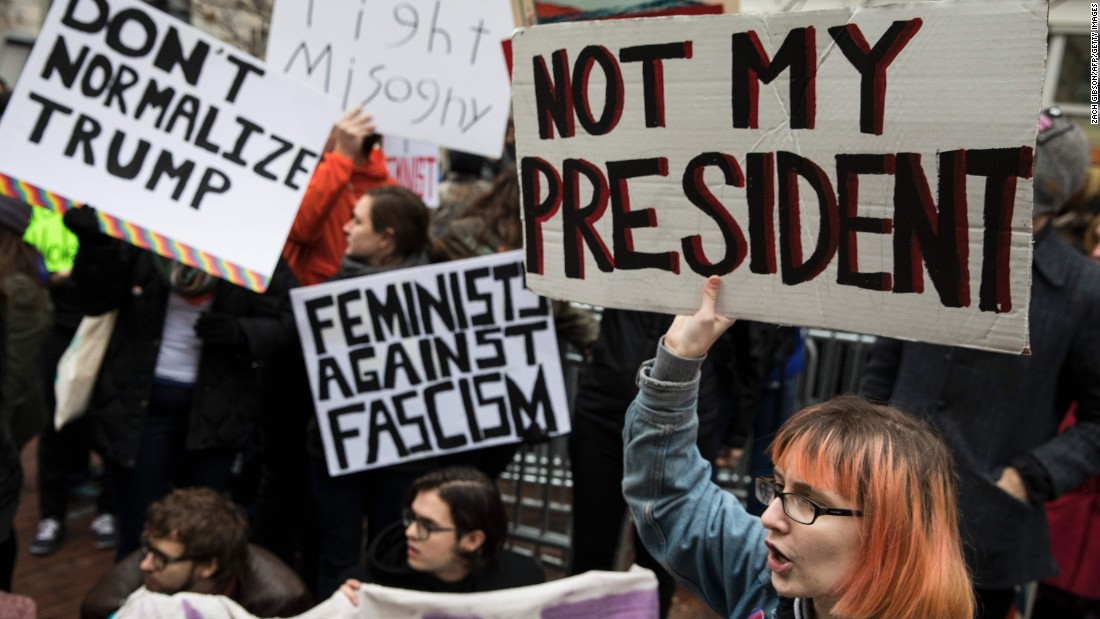 Demonstrators protest during the inauguration ceremonies.
