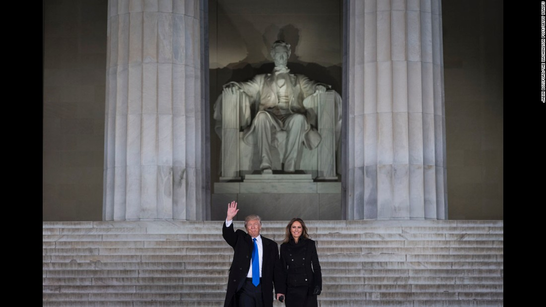 Donald Trump and his wife, Melania, visit the Lincoln Memorial on Thursday, January 19.