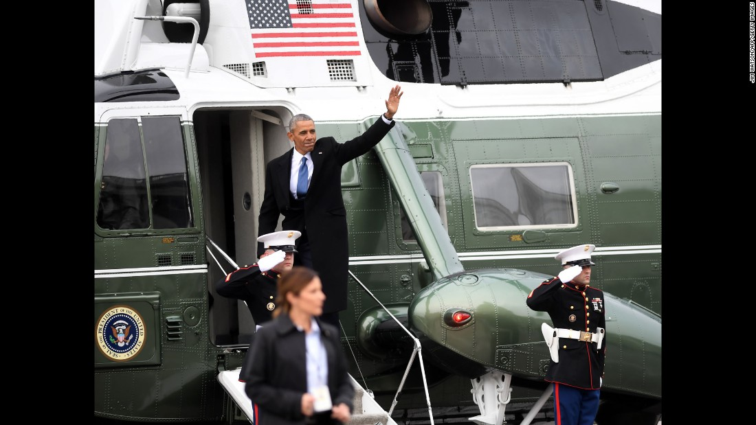 "Barack Obama waves as he boards a military helicopter to depart Washington on Friday, January 20, following the presidential inauguration of Donald Trump. <a href=""http://www.cnn.com/2017/01/20/politics/obamas-exit-white-house/index.html"" target=""_blank"">Post-presidency</a>, Obama said he wants to begin writing a book with the help of his White House speechwriter, Cody Keenan. He's also named a senior adviser and a chief of staff for his private office, and on Friday a website that allows users to inquire about his upcoming speaking engagements went live."