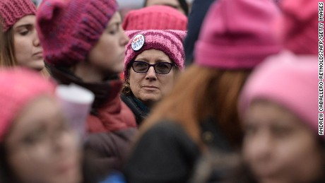 Demonstrators protest on the National Mall in Washington, DC, during the Women's March on January 21, 2017.