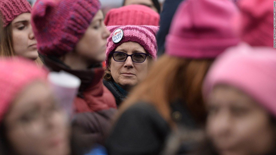 "The pink ""pussyhat"" with cat ears became the symbol the the Woman's March on Washington as a reference to President Donald Trump's remarks about grabbing women by their genitalia during the election."