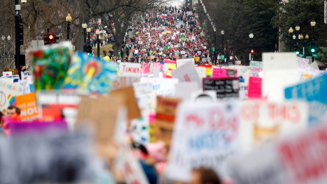 "Protesters stream onto Independence Avenue at the <a href=""http://www.cnn.com/2017/01/21/us/gallery/womens-march-on-washington/index.html"" target=""_blank"">Women's March on Washington</a> during the first full day of Donald Trump's presidency, Saturday, January 21,  in Washington DC."