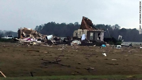 Severe storms left damage in south Georgia along Interstate 75 between the towns of Adel and Hahira.