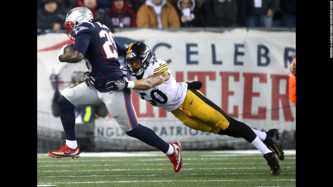 The New England Patriots beat the Pittsburgh Steelers 36-17 to win the AFC Championship game at Gillette Stadium in Foxborough, Massachusetts, on Sunday. Here, LeGarrette Blount of the Patriots runs against  Ryan Shazier of the Steelers in the first quarter.