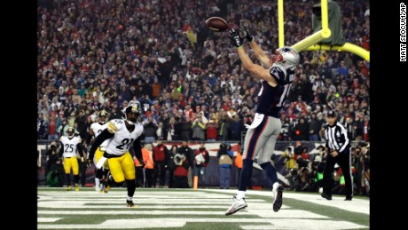 Hogan with one of his two touchdown receptions against the Steelers.