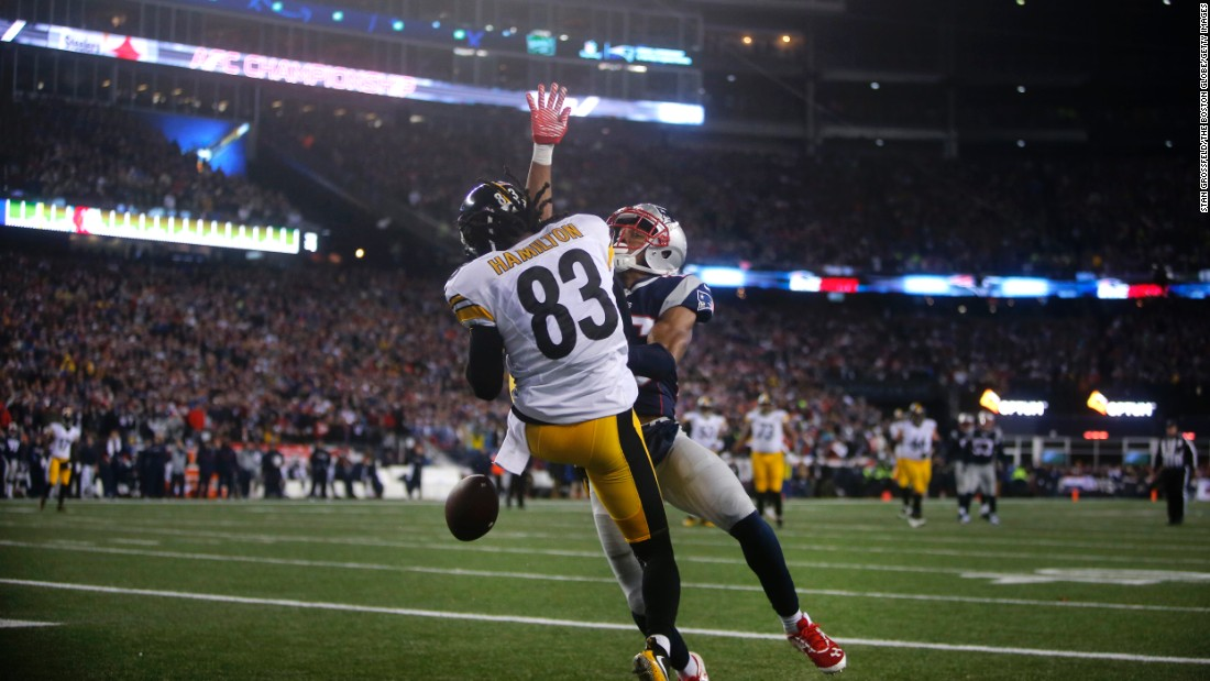 Patriots defensive back Eric Rowe breaks up a pass intended for the Steelers Cobi Hamilton in the second quarter.
