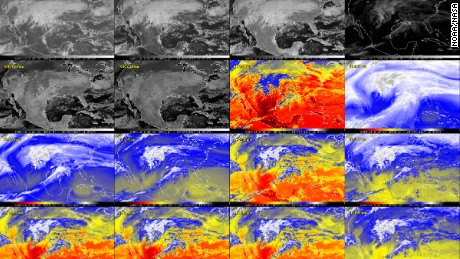 GOES-16 has 16 ways to view the Earth, three times more spectral channels than previous geostationary weather satellites. This image shows the two visible, four near-infrared and 10 infrared channels captured by the satellite's Advanced Baseline Imager.