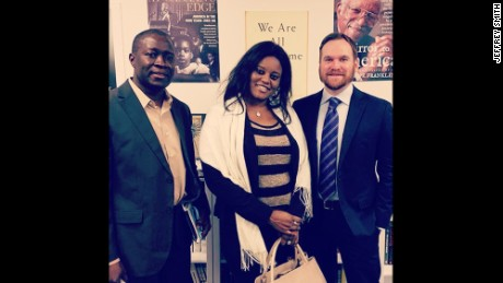 Jeffrey Smith, right, with Fatou Camara, center (Jammeh's former press secretary), and Amadou Janneh (a former Gambian government minister). Both were sentenced to prison in Gambia and now live in the United States, where they are involved in the Gambian advocacy community.