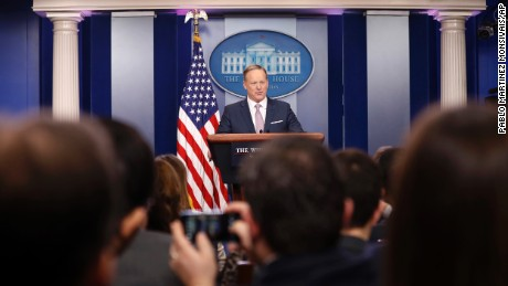 White House press secretary Sean Spicer at his first formal press briefing