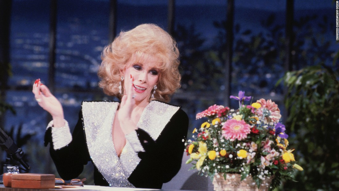 Joan Rivers was a comedy pioneer with her insistence on talking about life as a young woman with an unprecedented honesty. Her rat-a-tat joke-telling and unabashed discussion of single life, sex and womanhood paved the way for her to become the first woman to host her own late night talk show.