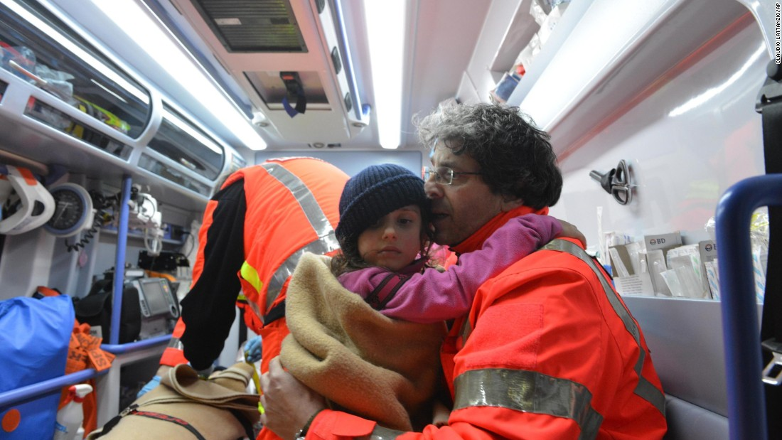 One of three children rescued from the avalanche zone is transported to a hospital in Pescara, on Friday, January 20.