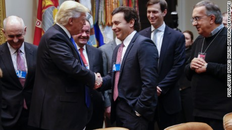 WASHINGTON, DC - JANUARY 24: (AFP-OUT) President Donald Trump greets CEO of Ford Motor Company Mark Fields as CEO of Fiat Chrysler Automobiles Sergio Marchionne (R) and Senior Advisor Jared Kushner (2R) look on during a meeting with auto industry leaders in the Roosevelt Room of the White House on January 24, 2017 in Washington, DC. President Trump has a full day of meetings including one with Senate Majority Leader Mitch McConnell and another with the full Senate leadership. (Photo by Shawn Thew-Pool/Getty Images)
