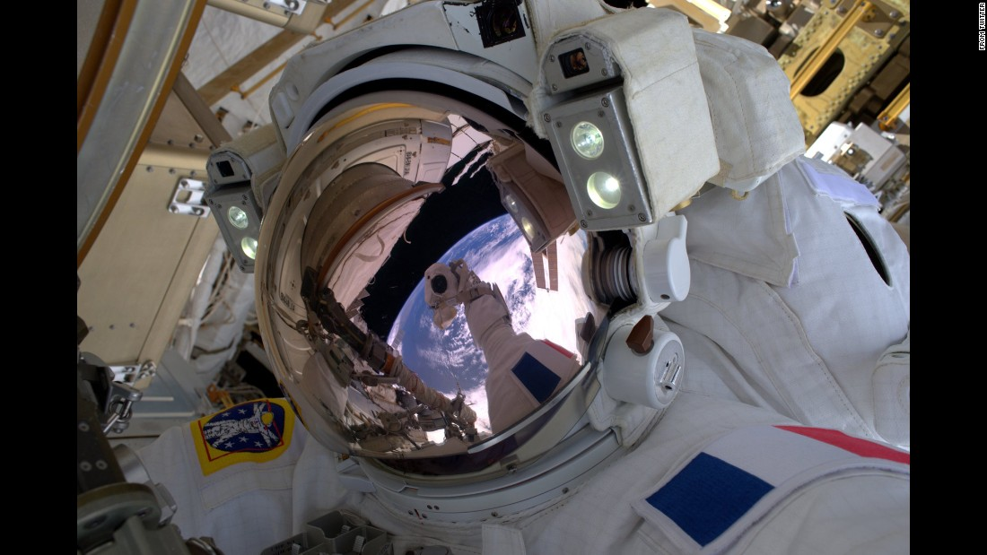 """The requisite space selfie!"" <a href=""https://twitter.com/Thom_astro/status/820030329721409536"" target=""_blank"">tweeted French astronaut Thomas Pesquet</a> on Friday, January 13. ""Nice reflection of Earth in the helmet. Unbelievable feeling to be your own space vehicle."" Pesquet is on a six-month mission aboard the International Space Station."