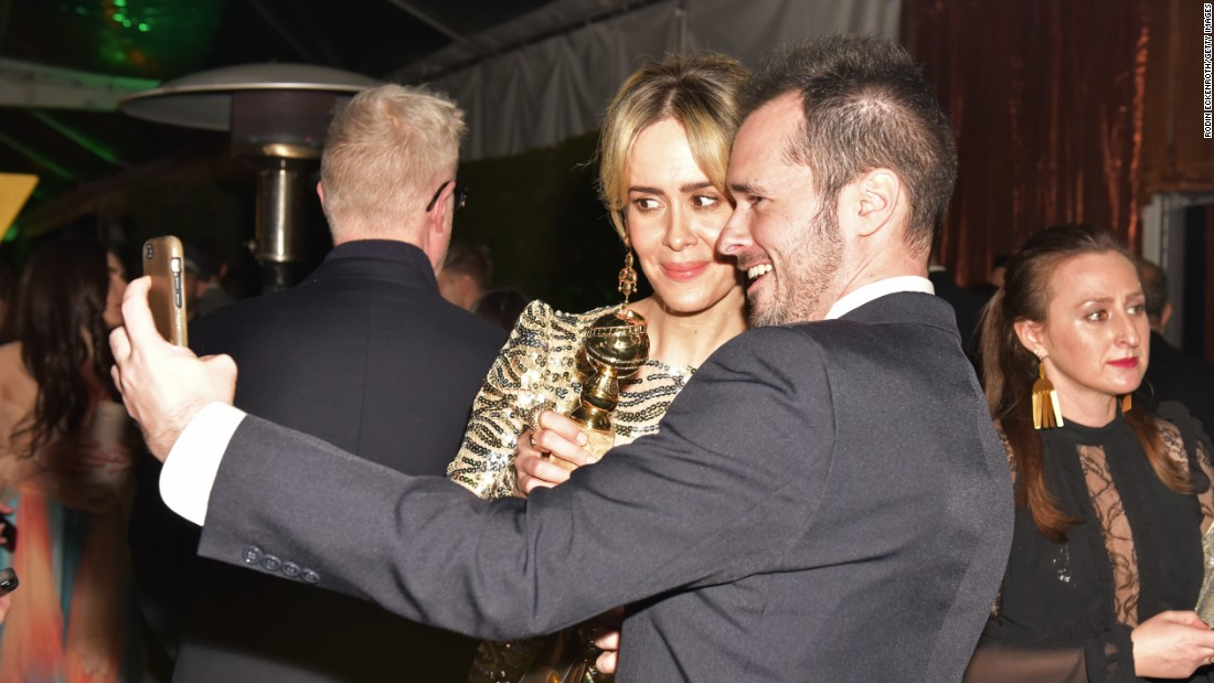 "Film director Tom Ford poses with actress Sarah Paulson at a Golden Globes after-party on Sunday, January 8. Paulson won best actress for her role as Marcia Clark in the television show ""The People v. O.J. Simpson."" <a href=""http://www.cnn.com/2017/01/08/entertainment/gallery/golden-globes-2017-winners/index.html"" target=""_blank"">See all Golden Globe winners</a>"