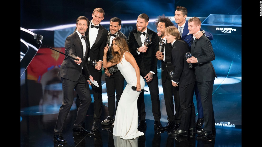 Marco Schreyl uses a selfie stick as he co-hosts The Best FIFA Football Awards on Monday, January 9. With Schreyl on stage are co-host Eva Longoria and some of the world's top soccer players: from left, Manuel Neuer, Dani Alves, Sergio Ramos, Marcelo, Luka Modric, Cristiano Ronaldo and Toni Kroos.