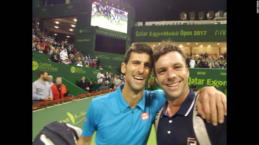 "Horacio Zeballos, right, got a selfie with fellow tennis pro Novak Djokovic after losing to Djokovic at the Qatar Open on Wednesday, January 4. ""I think that I have the best selfie of the day,"" <a href=""https://twitter.com/HoracioZeballos/status/816687108769411072"" target=""_blank"">he tweeted in Spanish.</a>"