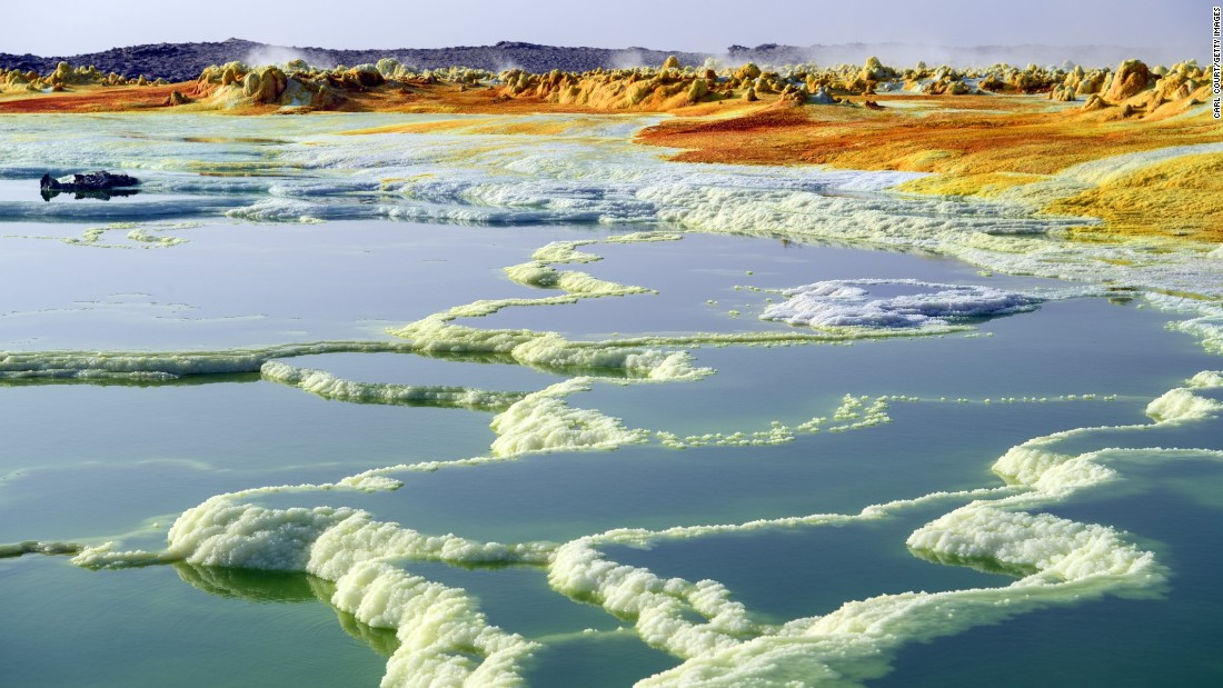 <strong>Dallol, Ethiopia:</strong> A sulfur lake is pictured in Ethiopia's Danakil Depression. At 100 meters below sea level, it's one of the hottest places on Earth. Temperatures here have been known to reach 125 F (51.6 C).