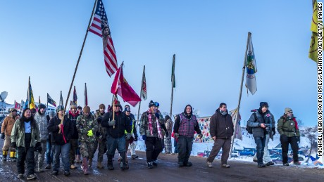 Protesters against the Dakota Access Pipeline in December 2016.