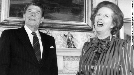 British Prime Minister Margaret Thatcher shares a joke with American President Ronald Reagan, at No. 10 Downing Street, London.    (Photo by Keystone/Getty Images)