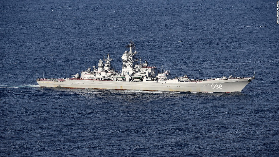 The Russian guided missile cruiser Petr Velikiy escorts the Admiral Kuznetsov through the English Channel on January 25.