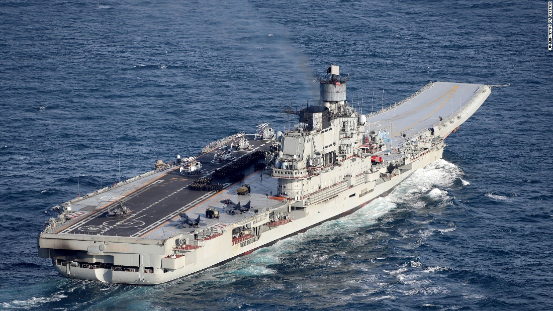The Russian aircraft carrier Admiral Kuznetsov moves off the UK coast on January 25.