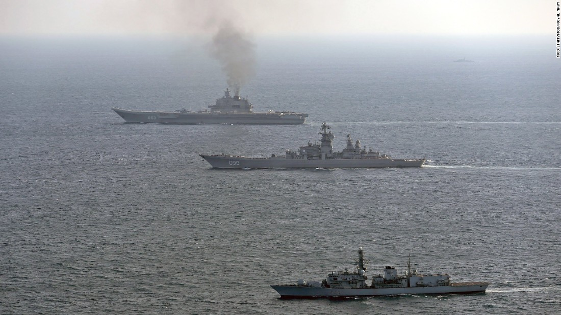 The Royal Navy frigate HMS St. Albans shadows the Russian aircraft carrier and a guided missile cruiser off the British coast on January 25.