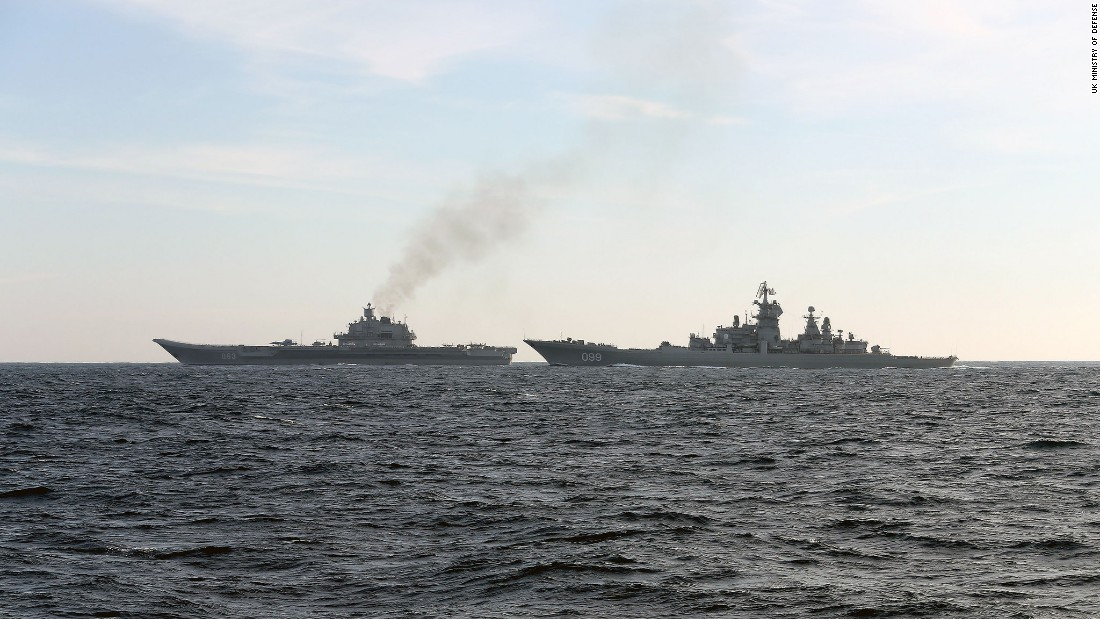 The Petr Velikiy and  Admiral Kuznetsov move through the English Channel on January 25 on their return to Russia.
