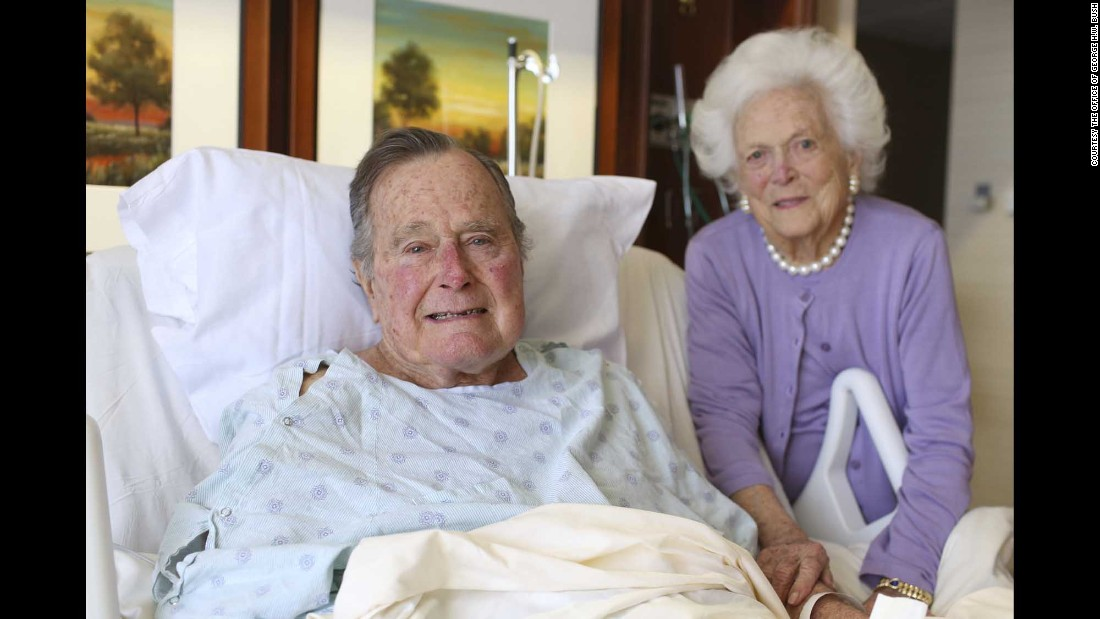 "Former US President George H.W. Bush and his wife, Barbara, pose for a photo at a Houston hospital on Monday, January 23. The 92-year-old former President <a href=""http://www.cnn.com/2017/01/25/politics/george-h-w-bush-hospital-home/"" target=""_blank"">was admitted on January 14</a> to address a respiratory issue stemming from pneumonia. Barbara was admitted to the same hospital for treatment of bronchitis. She was discharged on January 23. He might return home as soon as this weekend, family spokesman Jim McGrath said."