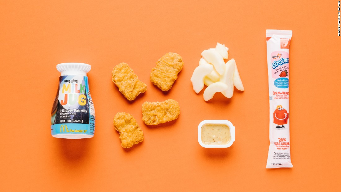 When it comes to kids' meals, you really can't go wrong with a McDonald's Happy Meal with chicken McNuggets (four pieces), apple slices, a low-fat yogurt stick and low-fat milk. The apples and the yogurt stick are a welcome substitution for fries and nicely balance out the meal.