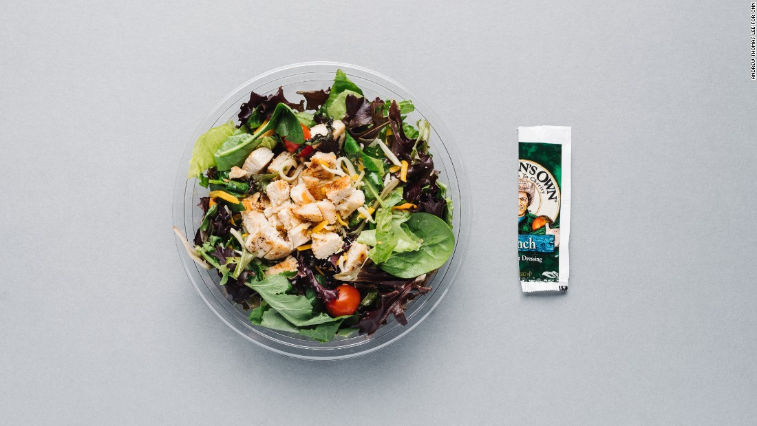 To stay low-cal at McDonald's, order the bacon ranch grilled chicken salad and omit the bacon to lower the calories (from 320 to 230) and sodium (from 1,090 milligrams to 730 milligrams). Use only half the packet of ranch dressing to bring the salad total to 330 calories.