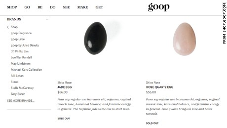 The site Goop offered jade and rose quartz eggs for sale, though both were shown as sold out.