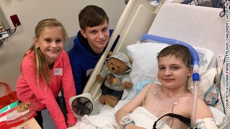 Spencer at St. Louis Children's Hospital with his brother and sister before his transplant.