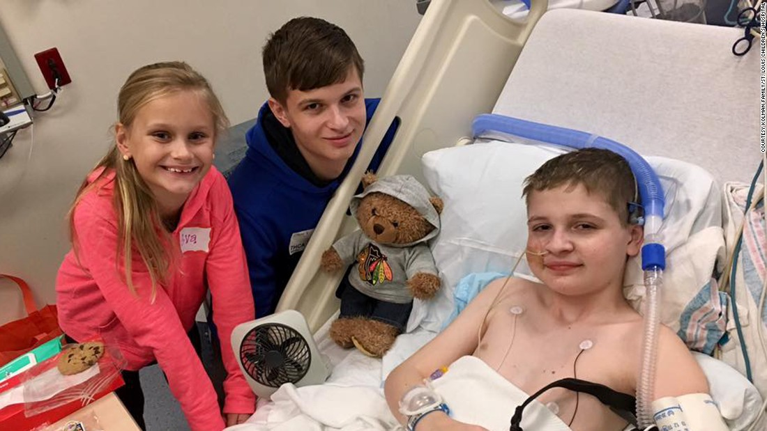 November 2016.  Spencer at St. Louis Children's Hospital awaiting his transplant with brother Zach Kolman, 16, and sister Evangeline Kolman, 7.