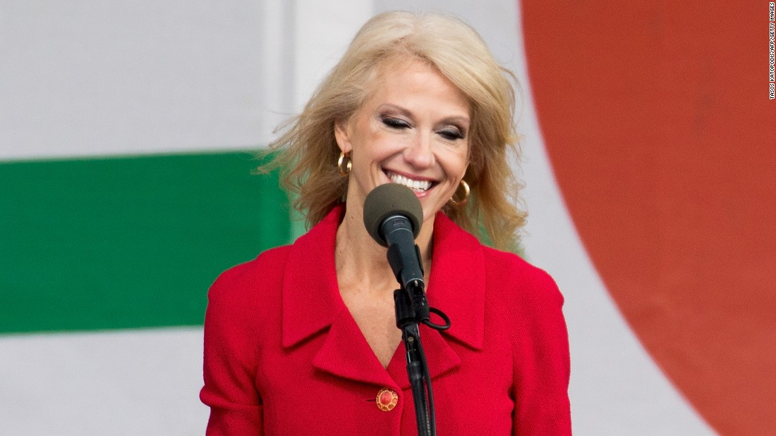 Kellyanne Conway, senior aide to President Donald Trump, speaks at the rally.