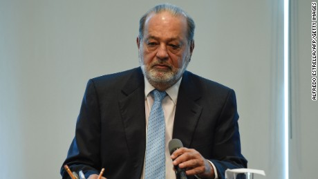 Mexican Tycon Carlos Slim speaks during a press conference at the Grupo Carso office in Mexico City on January 27, 2017.