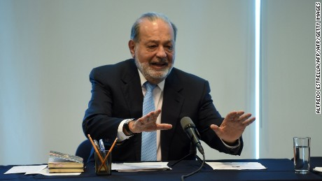 Mexican tycoon Carlos Slim speaks during a press conference in the midst of a diplomatic rift between Mexico and the US over Donald Trump's wall tax idea at the Grupo Carso headquarters in Mexico City on January 27, 2017. / AFP / ALFREDO ESTRELLA        (Photo credit should read ALFREDO ESTRELLA/AFP/Getty Images)