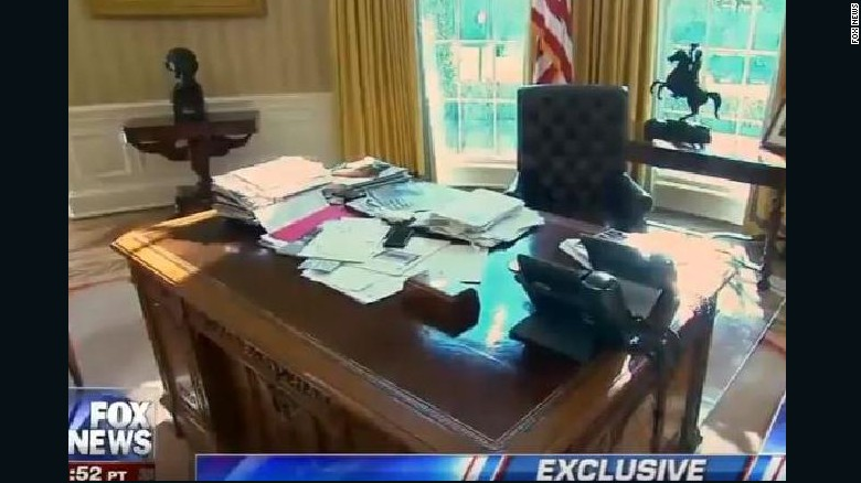 A Screengrab Of President Trump 39 S Desk In The Oval Office As