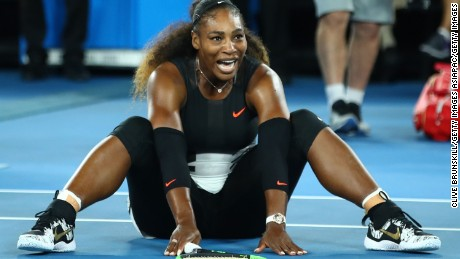 Serena Williams after winning her 23rd major at the 2017 Australian Open.